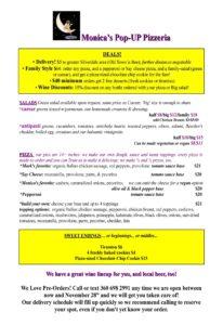 Pizzeria menu November 28, 2020